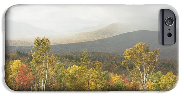 Maine Mountains iPhone Cases - Mountain Rainstorms In Fall Mount Blue State Park Weld Maine iPhone Case by Keith Webber Jr