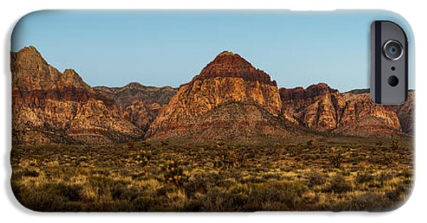 Red Rock iPhone Cases - Mountain Range in Red Rock Canyon Nevada iPhone Case by Susan  Schmitz