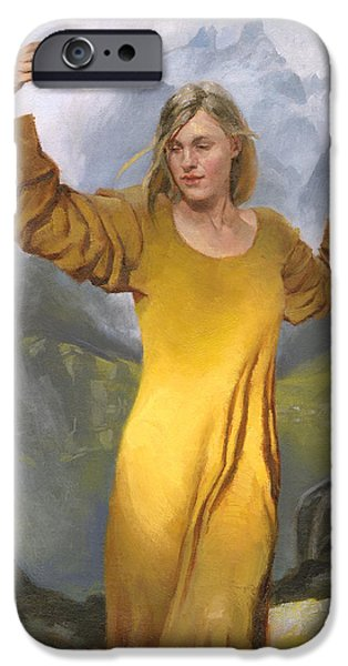 Figures Paintings iPhone Cases - Mountain Serenity iPhone Case by Douglas Girard