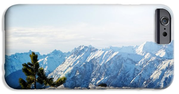 Snowy Day iPhone Cases - Mountain snowy winter scenery iPhone Case by Michal Bednarek