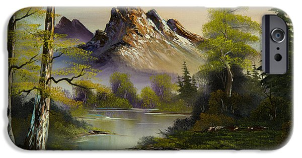 Bob Ross Paintings iPhone Cases - Mountain Evening iPhone Case by C Steele