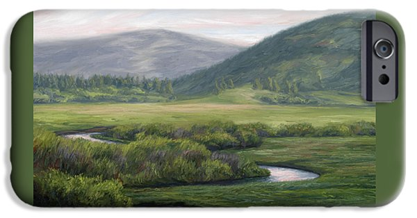 Scenery Paintings iPhone Cases - Mountain Stream 1 iPhone Case by Lucie Bilodeau