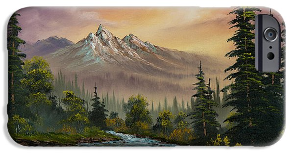 Bob Ross Paintings iPhone Cases - Mountain Sunset iPhone Case by C Steele