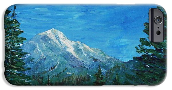 Pine Paintings iPhone Cases - Mountain View iPhone Case by Anastasiya Malakhova