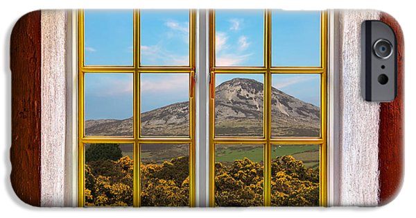Cabin Window iPhone Cases - Mountain View iPhone Case by Semmick Photo