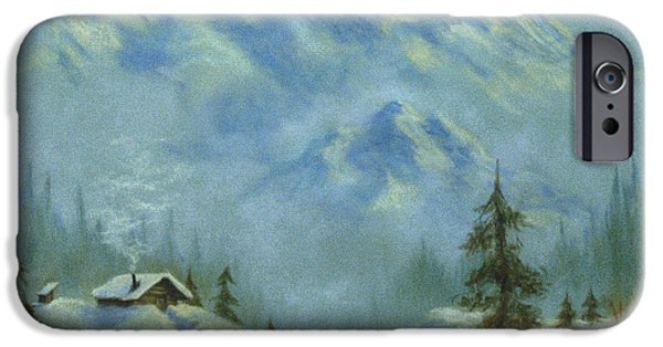 Creek Pastels iPhone Cases - Mountain View with Creek iPhone Case by Teresa Ascone