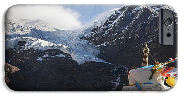Tibetan Buddhism iPhone Cases - Mountain View With Part Of Stupa Tibet iPhone Case by Alex Adams