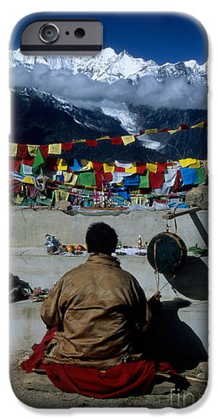 Tibetan Buddhism iPhone Cases - Mountain worship iPhone Case by James Brunker