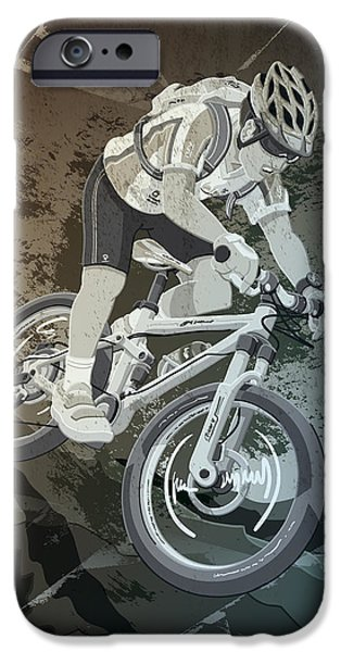 Dirty iPhone Cases - Mountainbike Sports Action Grunge Monochrome iPhone Case by Frank Ramspott