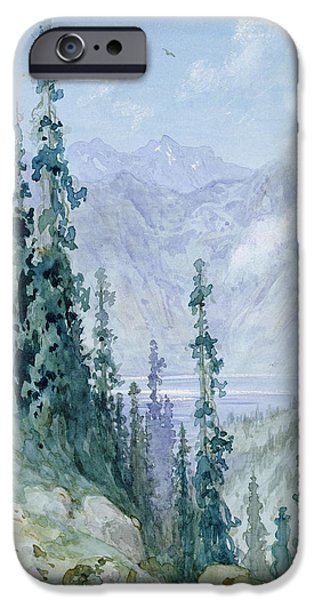1876 Paintings iPhone Cases - Mountainous landscape iPhone Case by Gustave Dore