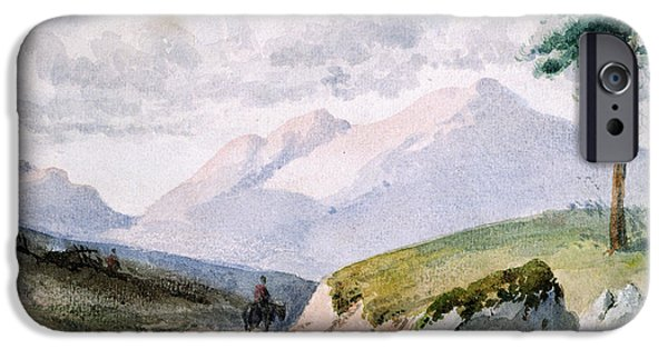 Pines iPhone Cases - Mountainous Landscape iPhone Case by John Ruskin