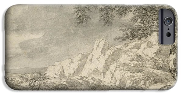 Dog Walking iPhone Cases - Mountainous Landscape With A Hiker Chalk And Indian Ink On Paper iPhone Case by Herman Nauwincz