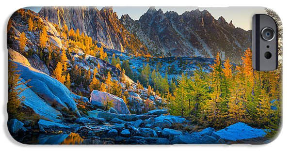 Reflecting Trees iPhone Cases - Mountainous Paradise iPhone Case by Inge Johnsson