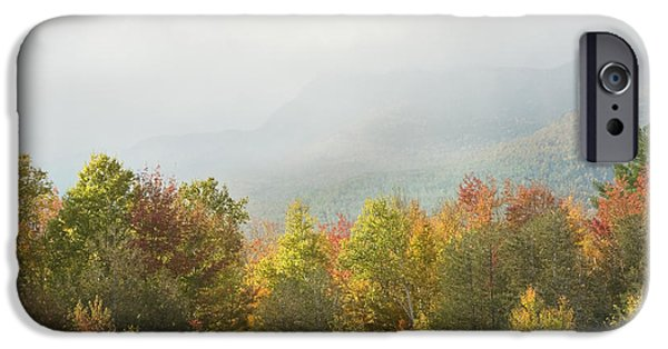 Maine iPhone Cases - Mountains and Rain Storm In Fall Mount Blue State Park Weld  iPhone Case by Keith Webber Jr