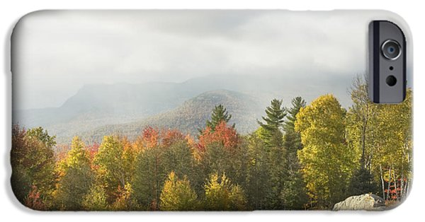 Maine Mountains iPhone Cases - Mountains and Rain Storm In Fall Mount Blue State Park Weld Maine iPhone Case by Keith Webber Jr