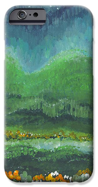 Mist iPhone Cases - Mountains at Night iPhone Case by Holly Carmichael