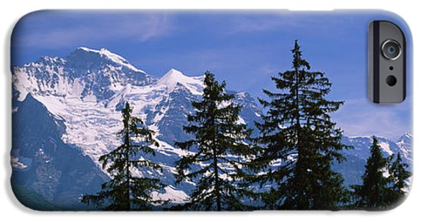 Pines iPhone Cases - Mountains Covered With Snow, Swiss iPhone Case by Panoramic Images