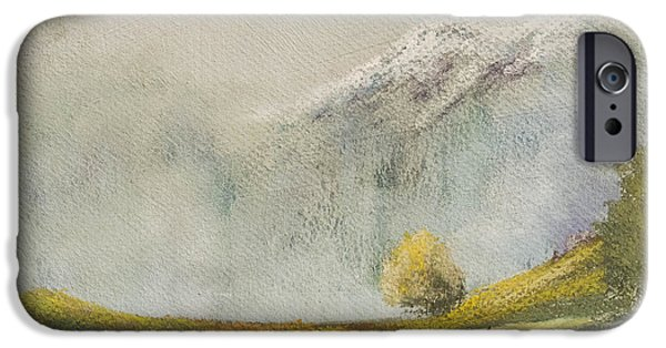 Snowy Pastels iPhone Cases - Mountains in the mist by Brian Curnel iPhone Case by Brian Curnel