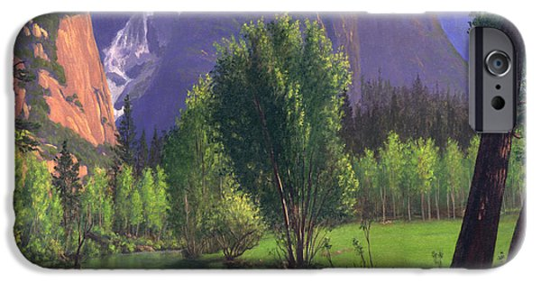 Park Scene Paintings iPhone Cases - Mountains Waterfall Stream Western Landscape - Square Format iPhone Case by Walt Curlee