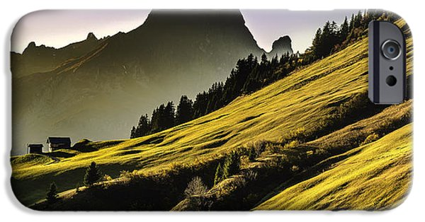 Swiss Landscape iPhone Cases - Mountainside Panorama - Switzerland iPhone Case by Mountain Dreams