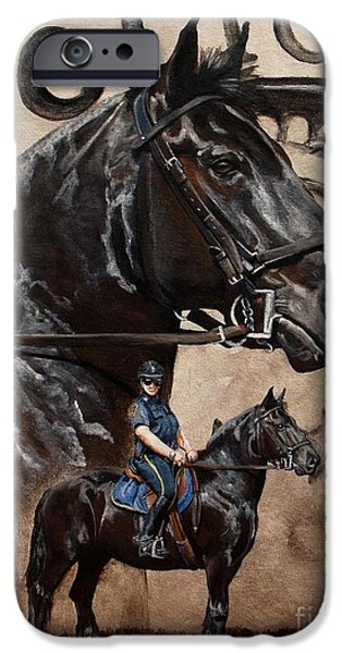 Police Officer Paintings iPhone Cases - Mounted Patrol iPhone Case by Pat DeLong