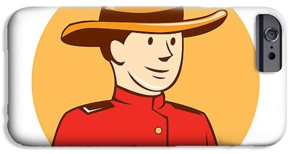 Police Officer Digital Art iPhone Cases - Mounted Police Officer Bust Circle Cartoon iPhone Case by Aloysius Patrimonio
