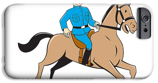 Police Officer Digital Art iPhone Cases - Mounted Police Officer Riding Horse Cartoon iPhone Case by Aloysius Patrimonio