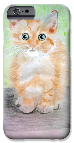 Beautiful Cat Drawings iPhone Cases - Mouse in the corner iPhone Case by Jo Ann