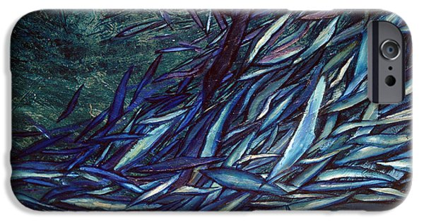 Abstract Digital Paintings iPhone Cases - Movements In Blue iPhone Case by Jerica  Gracin