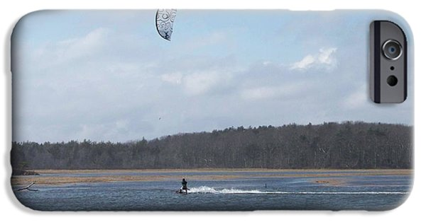 Kite Boarding iPhone Cases - MOVING Along The Water With A Kite iPhone Case by Eunice Miller