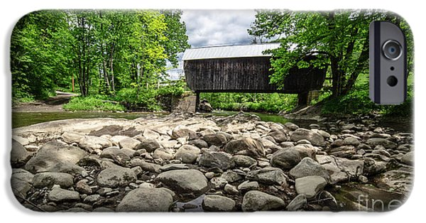 White River iPhone Cases - Moxley Covered Bridge Chelsea Vermont iPhone Case by Edward Fielding