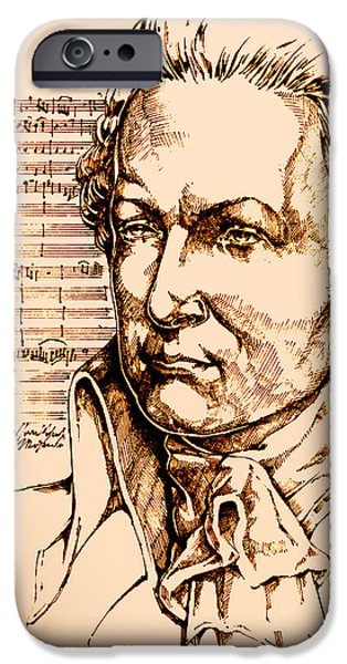 Sheets Drawings iPhone Cases - Mozart iPhone Case by Derrick Higgins