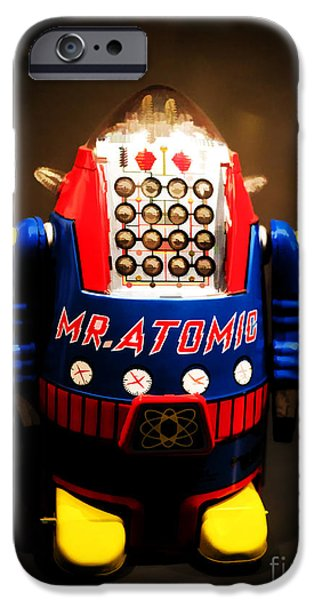 Mr. Atomic Tin Robot iPhone Case by Edward Fielding