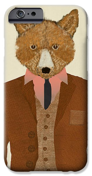 Shirt Digital iPhone Cases - Mr Fox iPhone Case by Bri Buckley