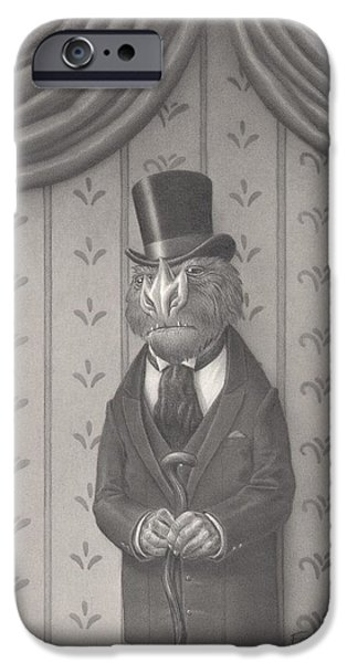 Creepy Drawings iPhone Cases - Mr. Grivens iPhone Case by Richard Moore