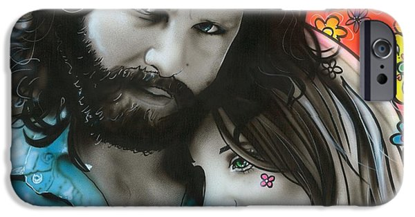 Sixties iPhone Cases - Mr Mojo Risin and Pam iPhone Case by Christian Chapman Art