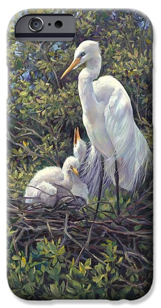Baby Bird Paintings iPhone Cases - Mr Mom iPhone Case by Laurie Hein