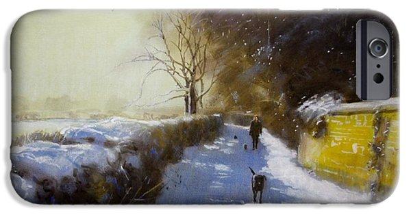 Winter Scene Pastels iPhone Cases - Mr Moores Lane Albrighton iPhone Case by Derek Williams RBSA FRSA