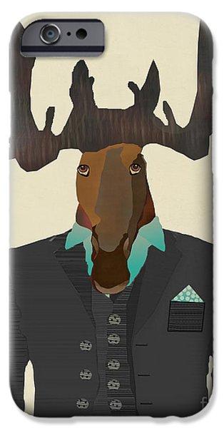 Fashion Designer Art iPhone Cases - Mr Moose  iPhone Case by Bri Buckley
