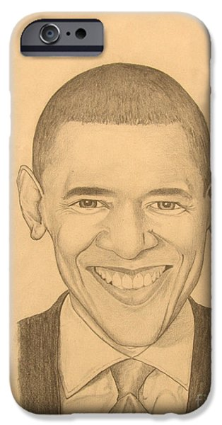 Obama Drawings iPhone Cases - Mr. Obama iPhone Case by Anthony  West
