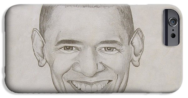 Obama Drawings iPhone Cases - Mr. Obama in Graphite iPhone Case by Anthony  West