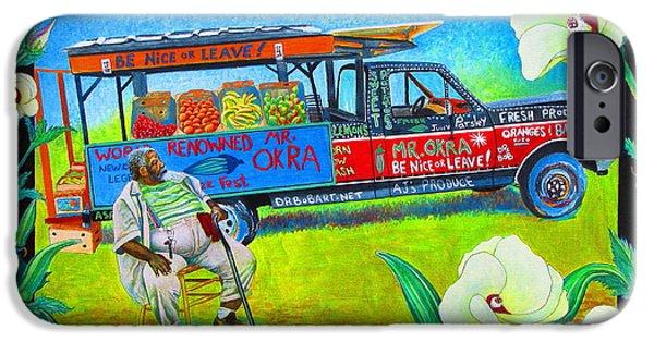 Mango Paintings iPhone Cases - Mr Okra iPhone Case by Pamela Iris Harden