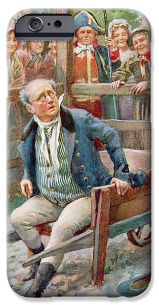 Humiliation iPhone Cases - Mr Pickwick In The Pound, Illustration For Character Sketches From Dickens Compiled By B.w. Matz iPhone Case by Harold Copping