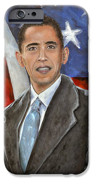 Mr. President iPhone Cases - Mr. President Barack Obama iPhone Case by Paul Mudersbach
