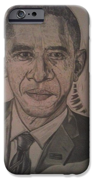President Obama Drawings iPhone Cases - Mr. President iPhone Case by Demetrius Washington