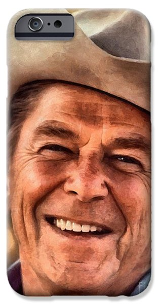Politician iPhone Cases - Mr. President Ronald Reagan iPhone Case by Vincent Monozlay