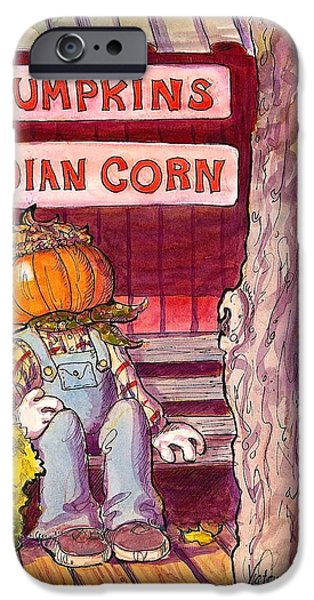 Pen And Ink Of Barn Paintings iPhone Cases - Mr. Pumpkin iPhone Case by Victoria Lisi