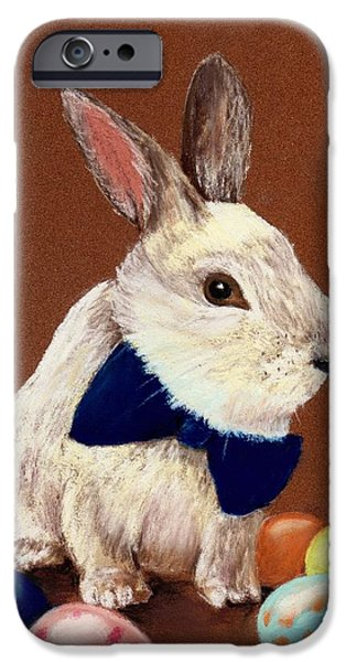 Animal Cards Pastels iPhone Cases - Mr. Rabbit iPhone Case by Anastasiya Malakhova