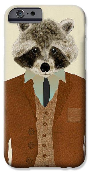 Raccoon Digital Art iPhone Cases - Mr Raccoon iPhone Case by Bri Buckley