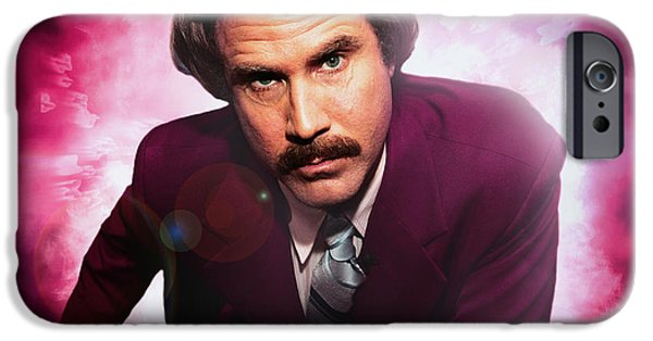 Police Art iPhone Cases - Mr. Ron Mr. Ron Burgundy from Anchorman iPhone Case by Nicholas  Grunas